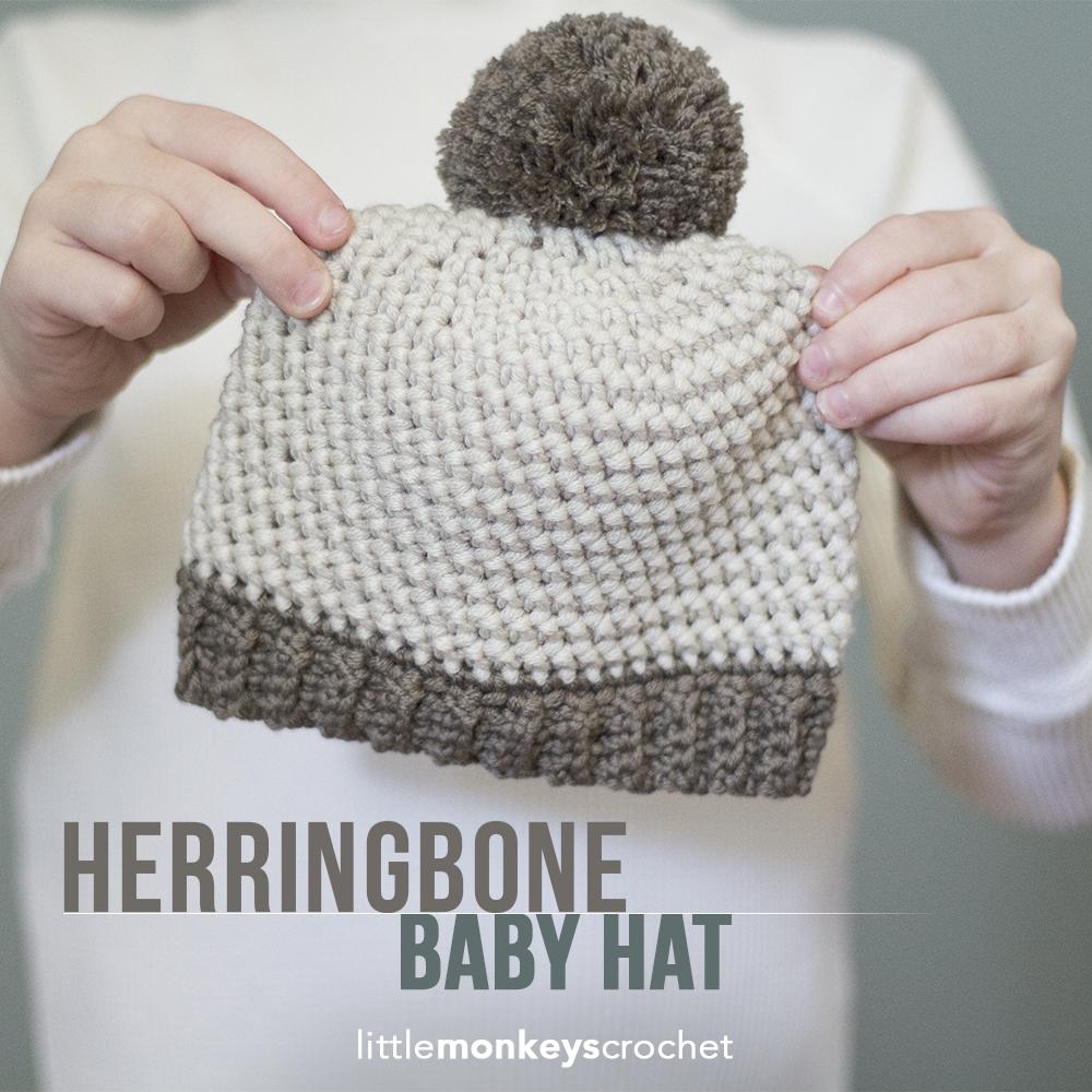 http://littlemonkeyscrochet.com/herringbone-baby-hat/