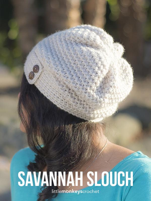 Savannah Slouch & Infinity Scarf Crochet Pattern Set | Free infinity scarf and slouchy hat crochet patterns by Little Monkeys Crochet
