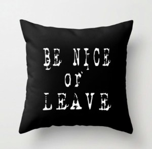 Be nice or leave pillow/adidit on Etsy