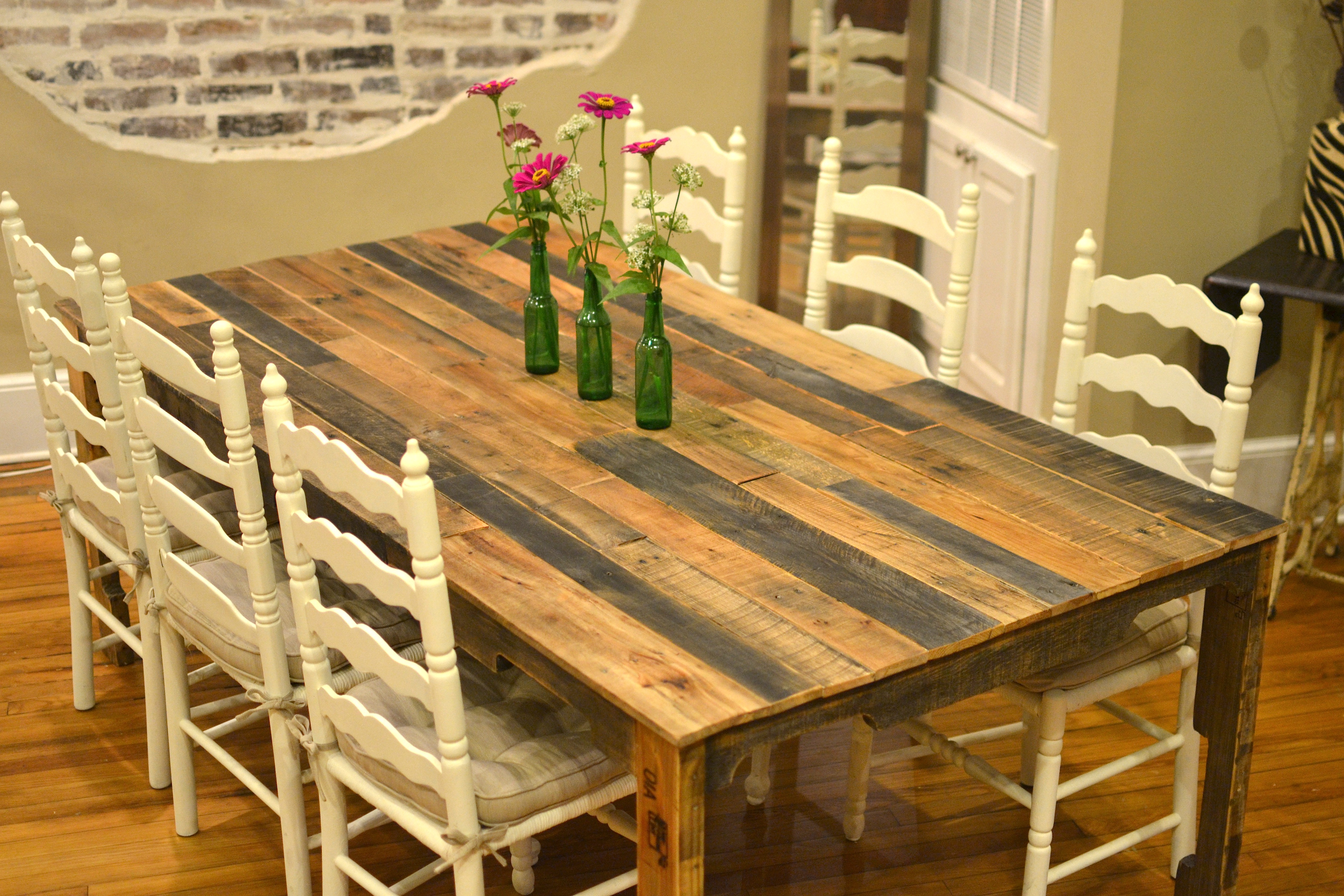 the shipping pallet dining table diy kitchen table plans Harvest style dining table made from shipping pallets