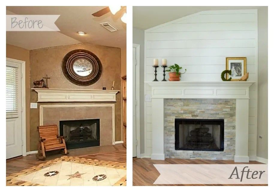 Fireplace makeover guest post making it in the mountains for Fireplace renovations before and after