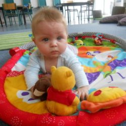 baby blue eyes pooh day care infant play