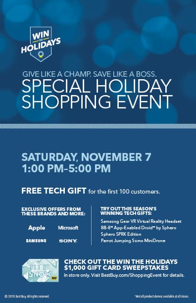 Visit Best Buy Saturday, November 7 for the Holiday Shopping Event!