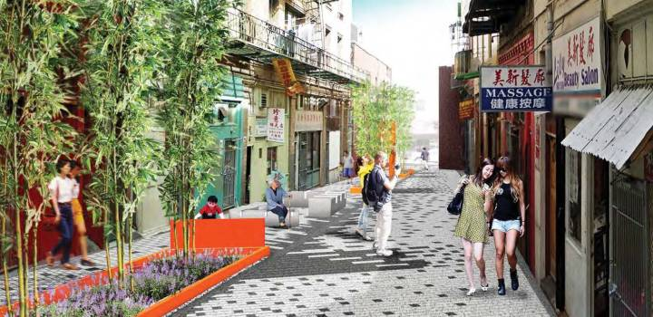 A rendering from the Chinatown Green Alley project by SFPUC/SFDPW featuring green infrastructure technologies that uses the natural process of plants and soil to filter, clean, and infiltrate stormwater, reducing the burden on the sewer system.