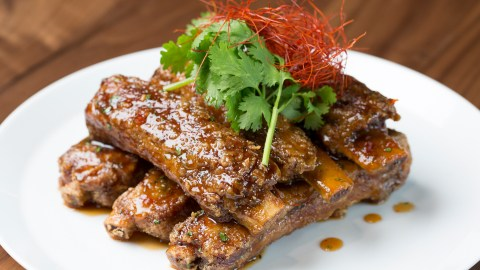 Morimoto Asia's crispy and sticky ribs are glazed with hoisin and sweet chili sauce. (Photo courtesy of  Morimoto Asia.)