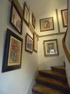 stairs with paintings