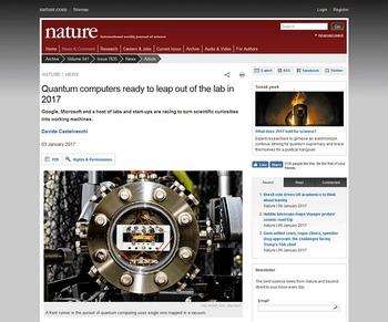 ついに量子コンピューターが2017年「研究」から「開発」段階へ!お前ら今年何を成し遂げるの?