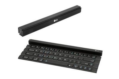 LG、お風呂カバーのように丸めてたためるBluetoothキーボード「Rolly Keyboard」を発表
