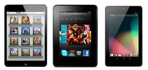 nexus 7 ipad mini kindle fire HD