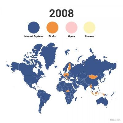 ウェブブラウザの栄枯盛衰が一発でわかるグラフ 世界はChromeを使ってるのに日本はいまだにIE