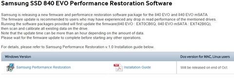 Samsung SSD 840 EVOの読み取り性能低下問題を回復させる「Performance Restoration Software」を公開
