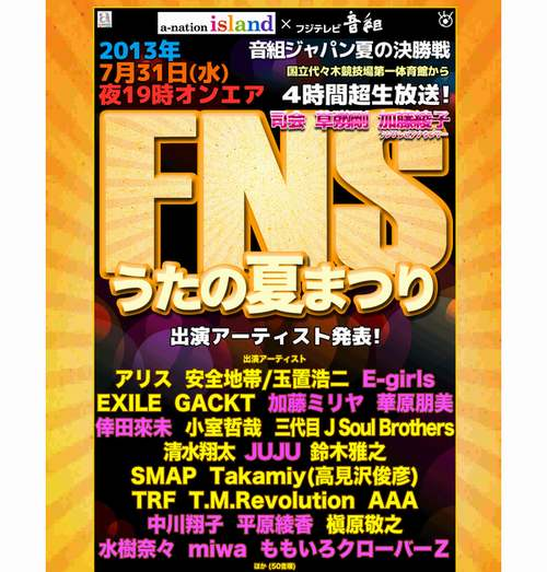 「FNSうたの夏まつり」出演者発表 K-POPはゼロ