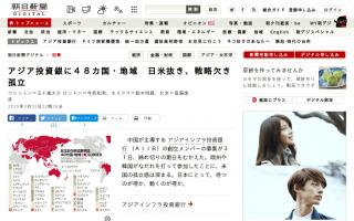 アジア投資銀に48カ国・地域 日米抜き、戦略欠き孤立 [朝日新聞]