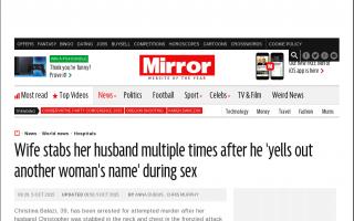 性行為中に別の女の名前を呼んだ男性、妻に包丁で刺される