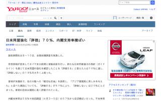 安倍内閣支持率58% 日米同盟強化「評価」70%-読売