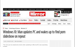 ウィンドウズ10にアップグレードした男性のパソコン、ポルノ画像のスライドショーが勝手に始まり赤っ恥