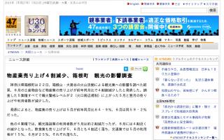物産業売り上げ4割減少、箱根町 観光の影響調査 [共同通信]