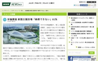 世論調査  新国立競技場「納得できない」81% [NHK]