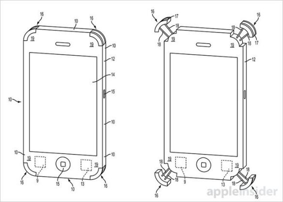 落下時にiPhoneの4隅から衝撃吸収バンパーが飛び出す機能をアップルが考案