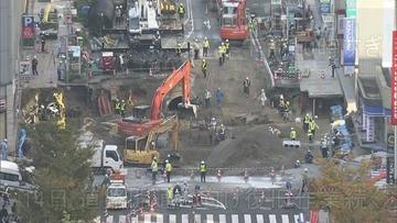 博多道路陥没の巨大な穴、わずか3日でほぼ埋まる…あまりの早さにネットで驚きの声