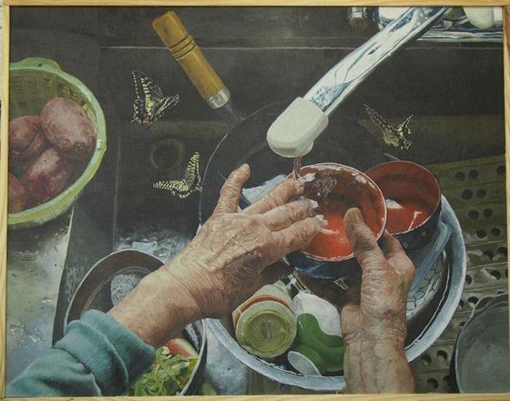 16歳現役jkが描いた油絵「主婦歴58年の勲章」が素晴らしいと感動の声