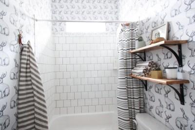 Jackalope Wallpaper Bathroom + DIY Smooth Textured Walls