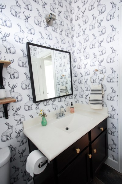 Jackalope Wallpaper Bathroom + DIY Smooth Textured Walls
