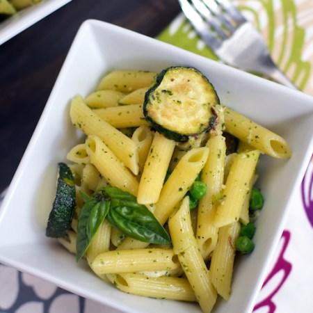 Fried Zucchini & Pesto Penne