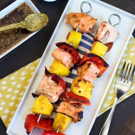Pineapple & Salmon Teriyaki Skewers