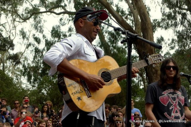 Tom Morello at Jack White's pop-up show in the woods @ Outside Lands 2012 || Photo © Katie Davies