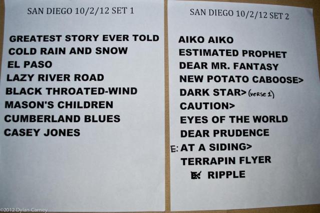 10/02/12 Furthur Setlist