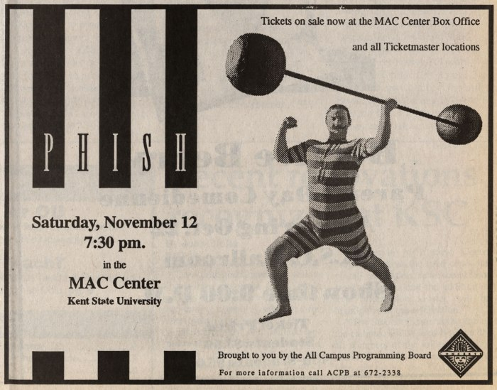 11/12/94 Kent University Phish Poster