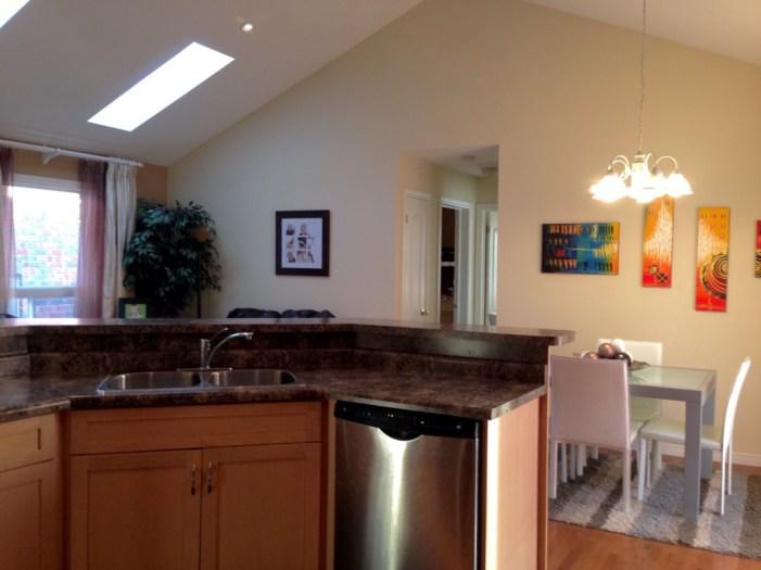 Kitchen island in open concept main floor