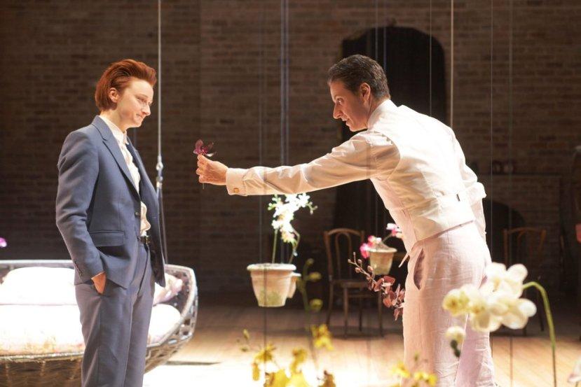 Jodie McNee as Viola Adam Levy as Orsino in Twelfth Night Stephen Vaughan