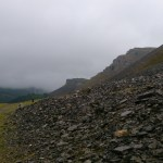 Scree slopes high above the Dee River