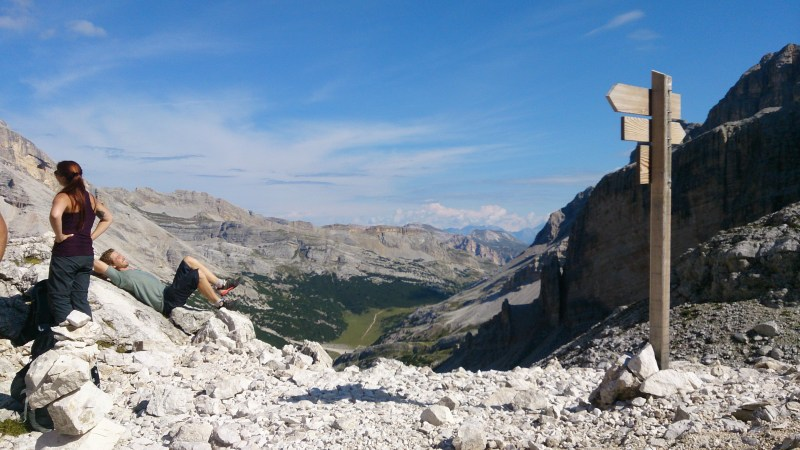 View back to where we'd come from, from Forcella di Lech
