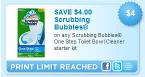 Walmart: FREE Scrubbing Bubbles One Step Toilet Bowl Cleaner (starting 10/2)