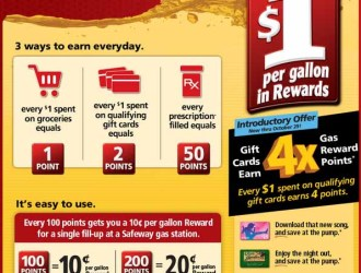 Safeway: Earn up to $1 savings per gallon of gas at the pump!!!