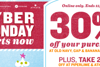 Cyber Monday sales have started at Old Navy + an awesome promo code + Free shipping + 10% cash back!!!