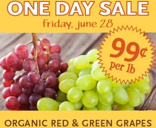 Whole Foods Organic Grapes just $0.99/lb Friday June 28th only!