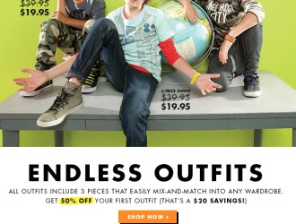 FabKids has fabulous 3 piece outfits for both boys and girls for just $15 (that's just $5 per piece!)+ free shipping!!!