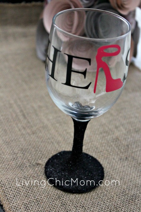 DIY His Amp Hers Glitter Stem Wine Glasses Silhouette
