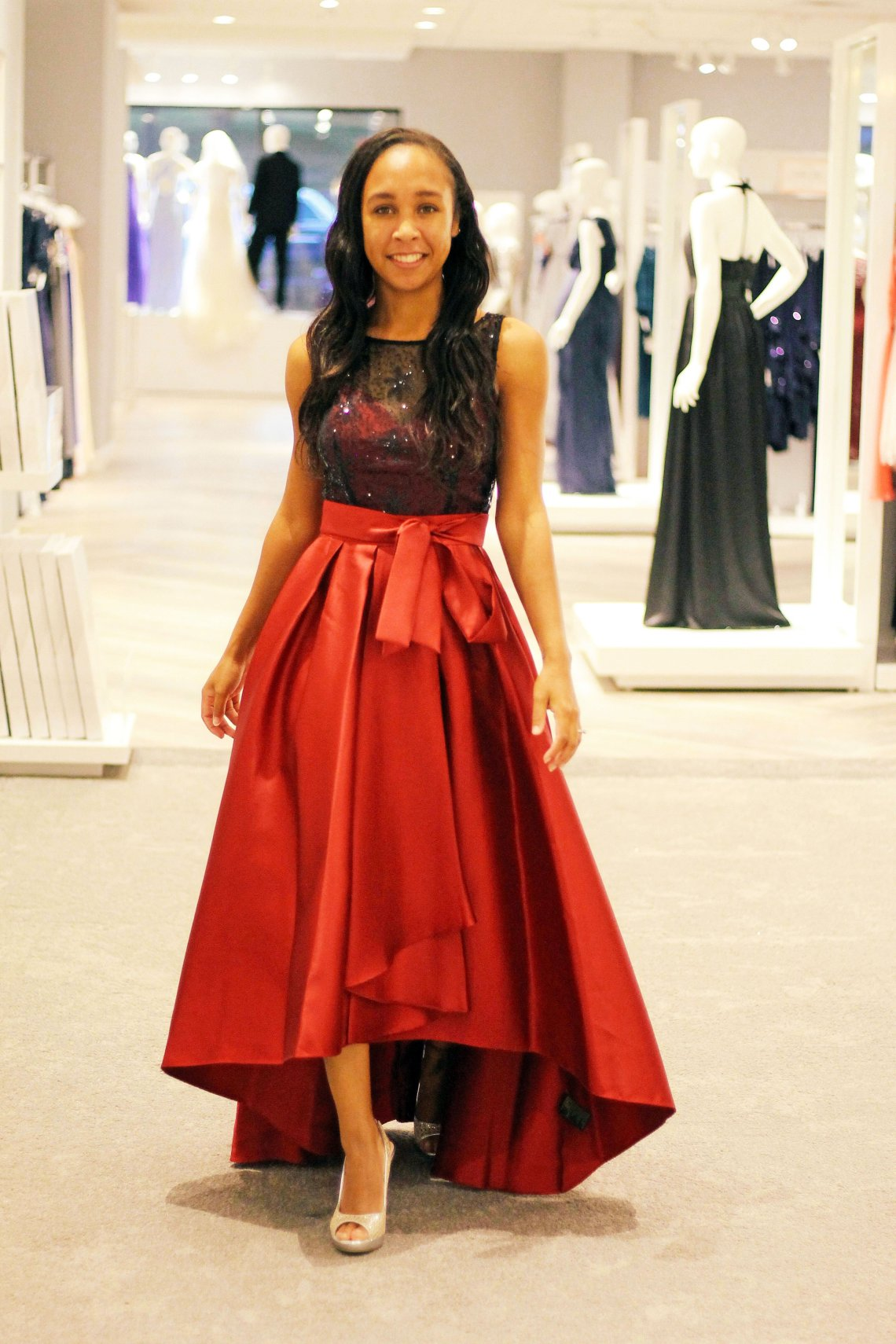 Mikado Dress with Beaded Top and Tulip Skirt in Red