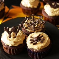 Chocolate Halloween Cupcakes with Peanut Butter Frosting