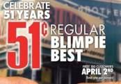 Get Blimpie's sub for 51 cents