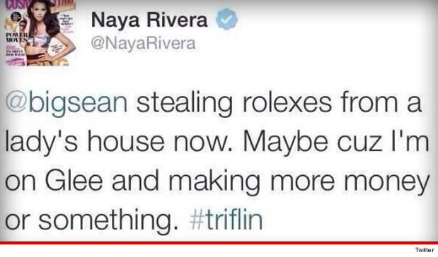 Naya Rivera Tweet Big Sean Stealing