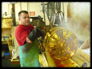 Here is the final process for chroming a wheel.  The wheel has just been pulled out from the chrome plating tank (chromium)