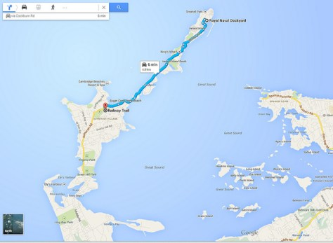 Map of our walk in Bermuda