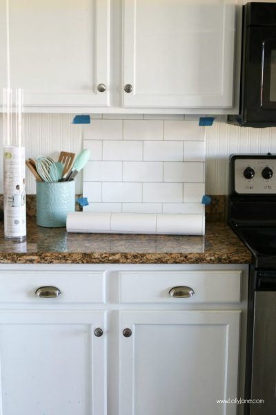 faux subway tile backsplash wallpaper