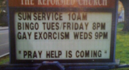 Church. Bingo. Gay Exorcism